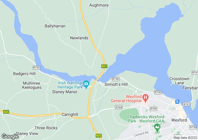Map for Wexford, Ferrycarrig