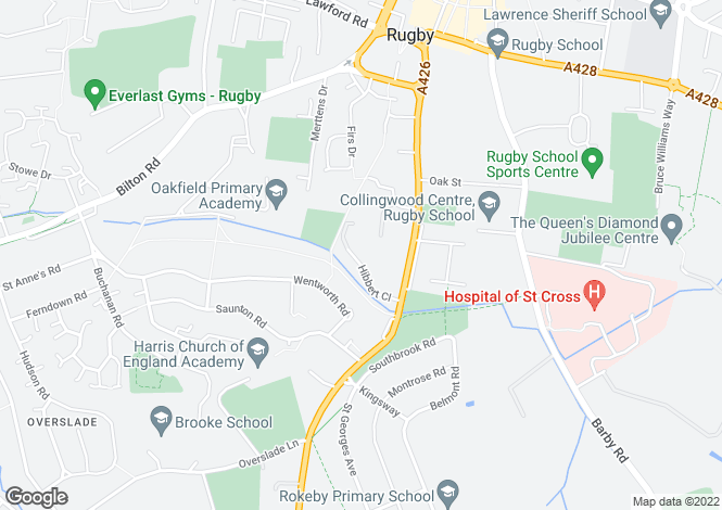 Map for Hibbert Close, Off Dunchurch Road, Rugby