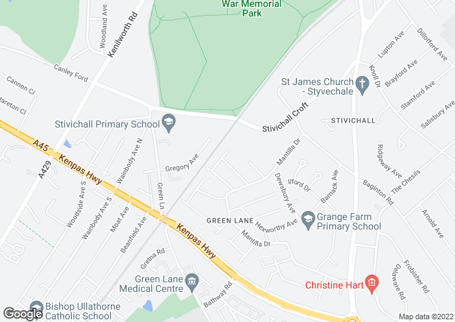 Map for Chideock Hill, Coventry, West Midlands
