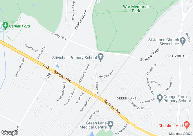 Map for Green Lane, Finham, Coventry