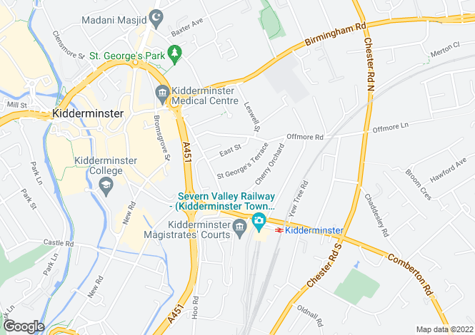 Map for St Georges Terrace, Kidderminster, Worcestershire