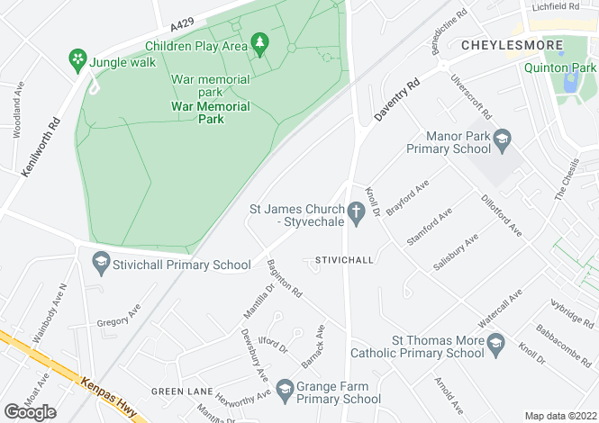 Map for Stivichall Croft, Stivichall, COVENTRY, West Midlands