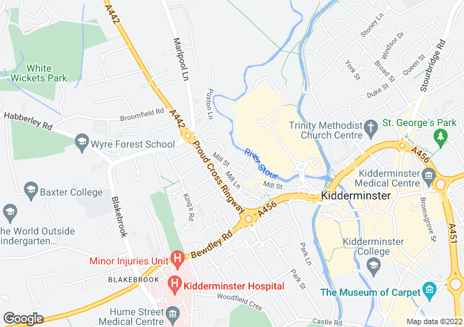 Map for Mill Street, Kidderminster, Worcestershire
