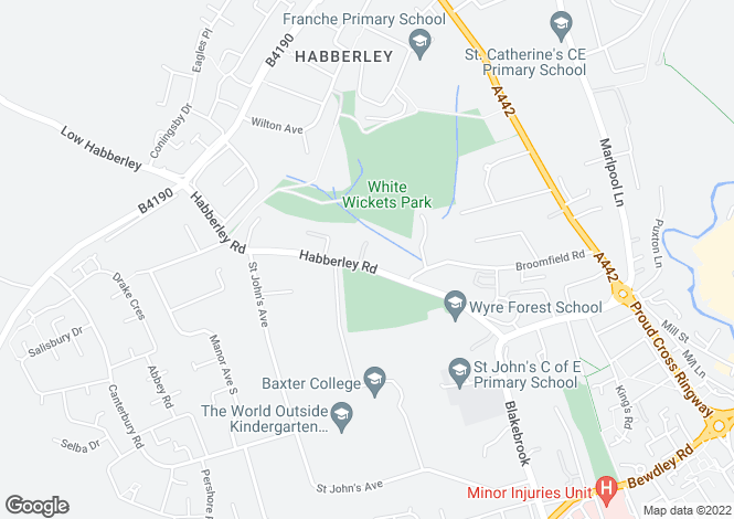 Map for Habberley Road, Kidderminster, Worcestershire