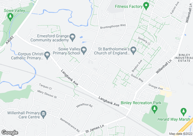 Map for Joseph Creighton Close, Ernesford Grange, Coventry