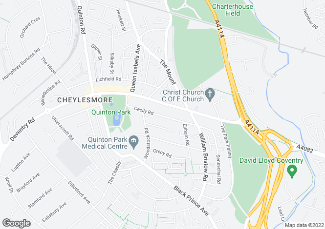 Map for Cecily Road, Cheylesmore, COVENTRY, West Midlands