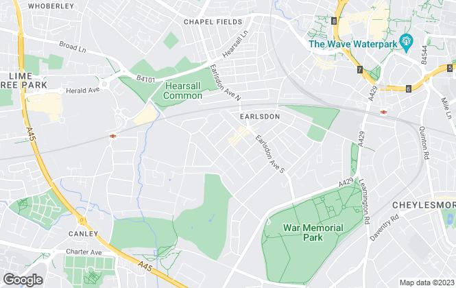 Map for Brian Holt, Earlsdon