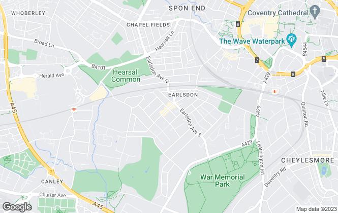Map for Godiva Estates, Coventry