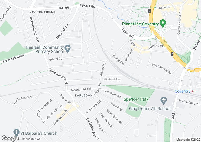 Map for Albany Road, Earlsdon, CV5
