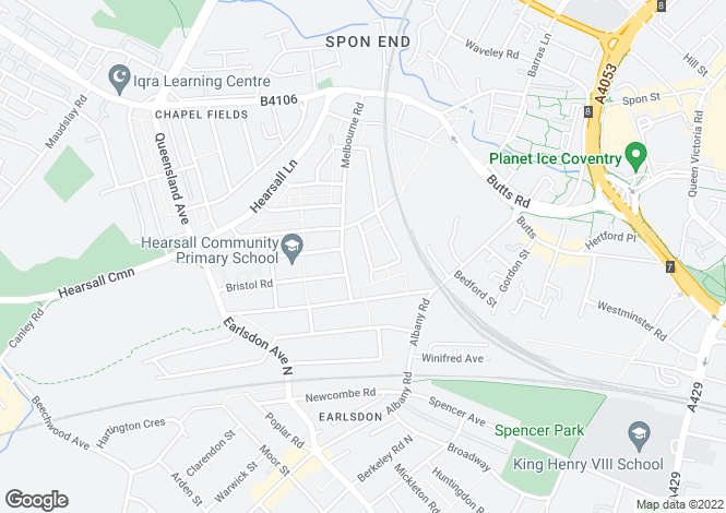 Map for Ludlow Road, Earlsdon, Coventry