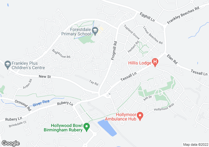 Map for Frogmill Road, Rubery, Birmingham
