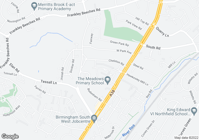 Map for Torre Avenue, Northfield, Birmingham, B31