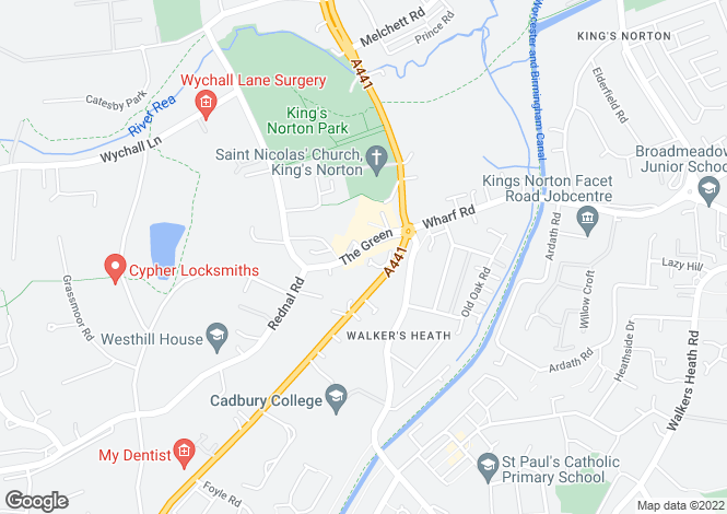 Map for The Green, Kings Norton, B38