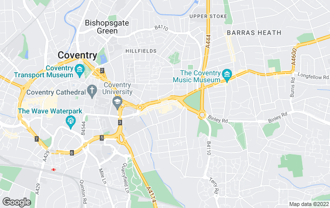 Map for Bluewood Estates and Letting, Coventry