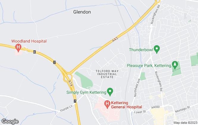 Map for Budworth Hardcastle limited, Kettering