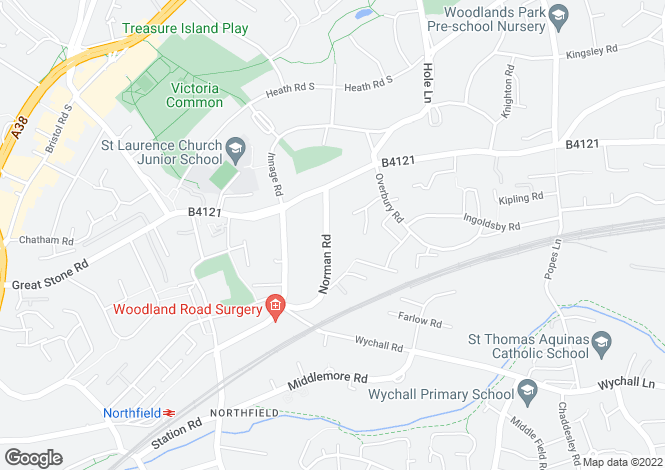 Map for Norman Road, Northfield, BIRMINGHAM