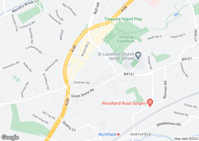 Map for Chatham Road, Northfield, Birmingham