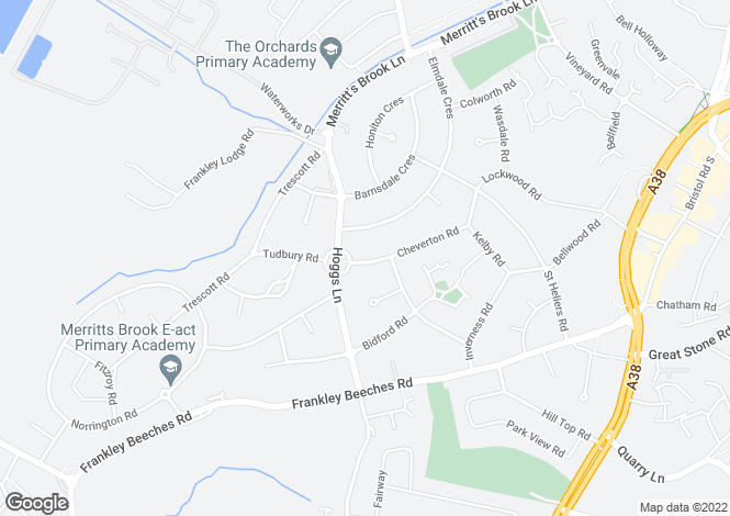 Map for Cheverton Road, Northfield