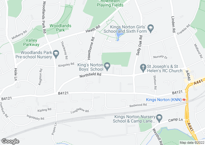 Map for Northfield Road, Kings Norton