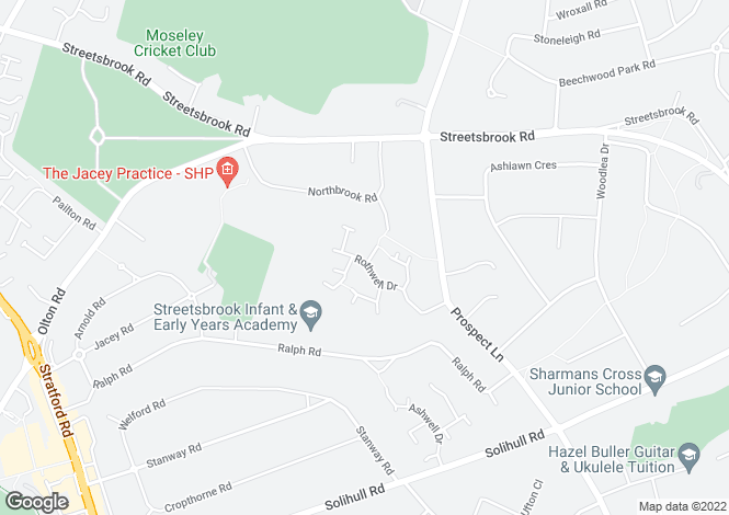 Map for Rothwell Drive, Solihull