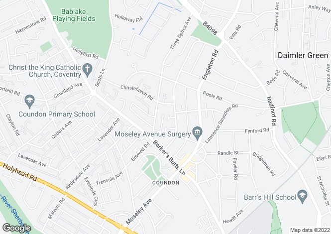 Map for Teachers Close, Coundon, Coventry