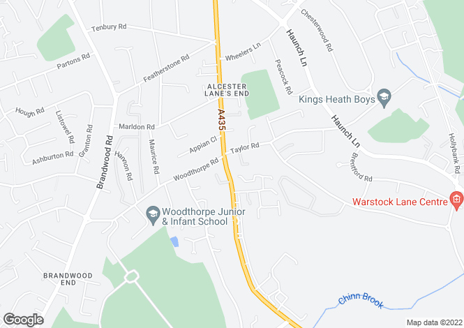 Map for Alcester Road South, Birmingham