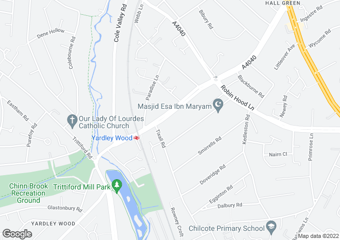Map for Highfield Road, Hall Green