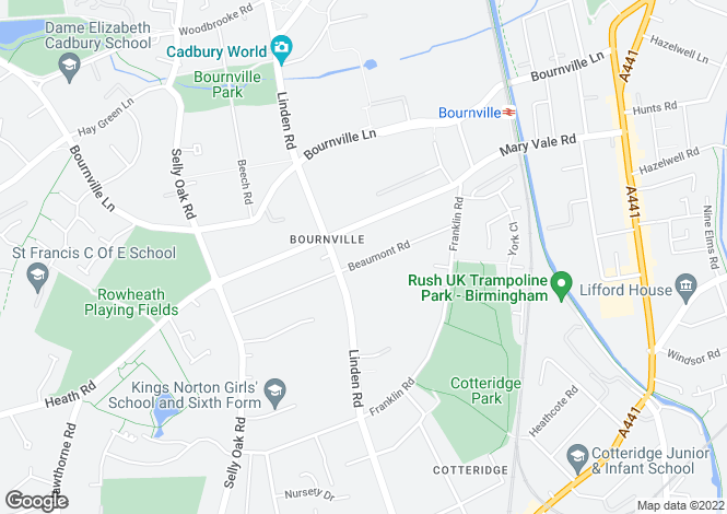 Map for 72 Beaumont Road, Bournville, Birmingham, West Midlands