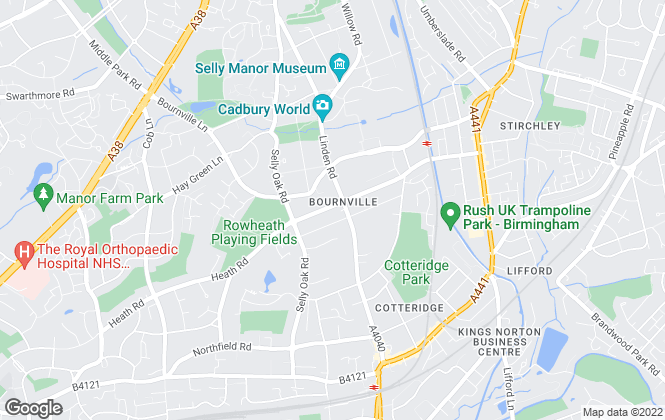 Map for Rice Chamberlains Estate Agents Limited, Bournville