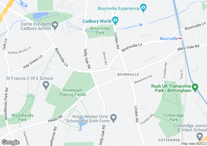 Map for Bournville Lane, Bournville