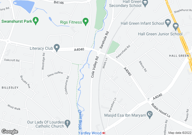 Map for Cole Valley Road, Hall Green, Birmingham B28 0DG