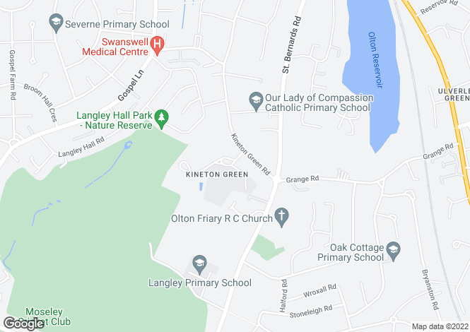 Map for Kineton Green Road, Solihull, West Midlands