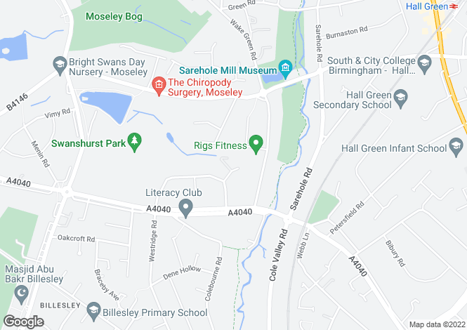 Map for Flat 2, Falstaff House, Charlecott Close, Moseley B13 0DE