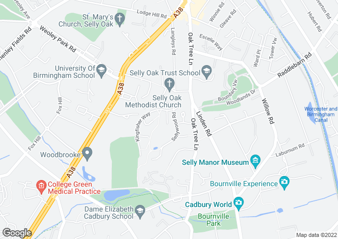 Map for 135 Sellywood Road, Bournville, Birmingham, West Midlands