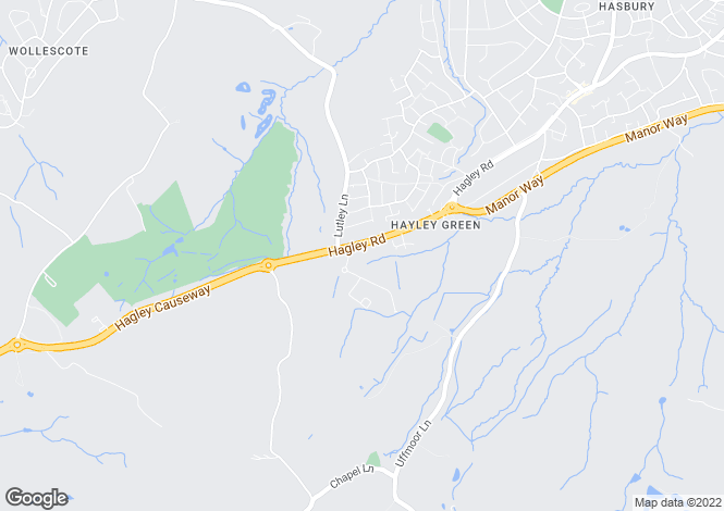 Map for Hagley Road, Hayley Green