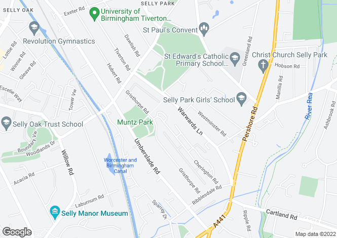 Map for Cherrington Road, Selly Oak **House Share**
