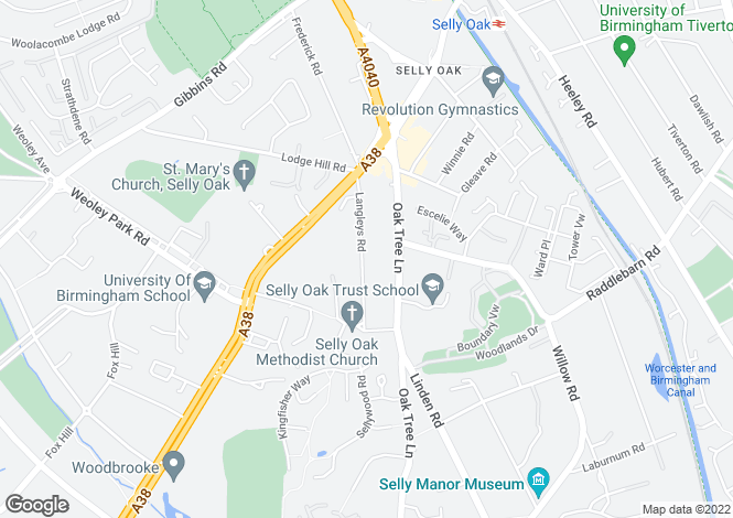 Map for 67 Langleys Road, Selly Oak, Birmingham, West Midlands