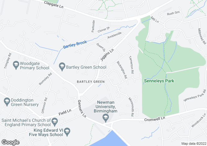 Map for Pickering Croft, Bartley Green, Birmingham, West Midlands, B32