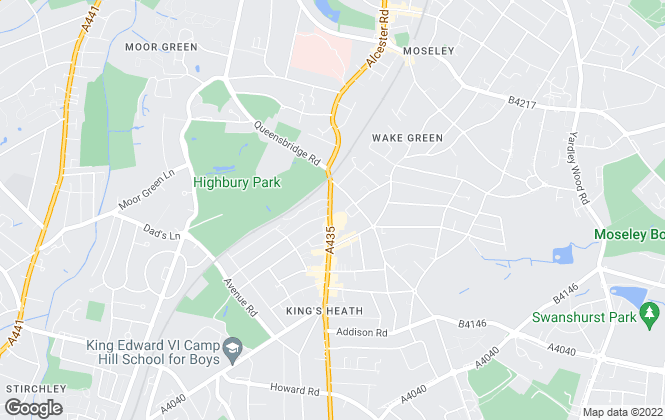 Map for Glovers Estate Agents, Kings Heath