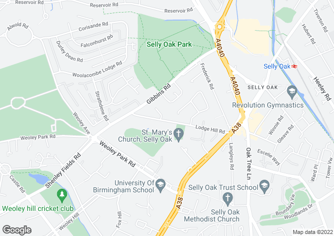 Map for Lodge Hill Road, Selly Oak, Birmingham, West Midlands