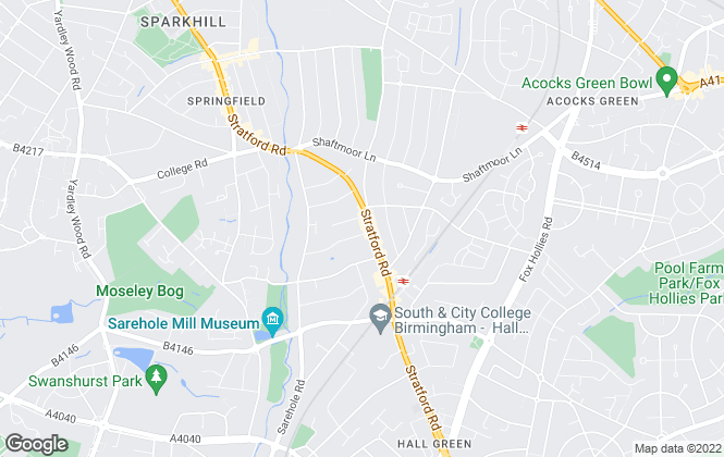 Map for Searchers Letting Agents, Hall Green