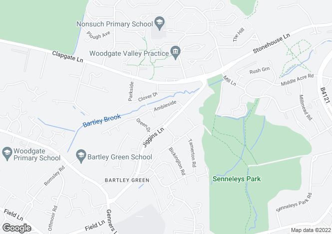 Map for Jiggins Lane, Bartley Green, Birmingham B32