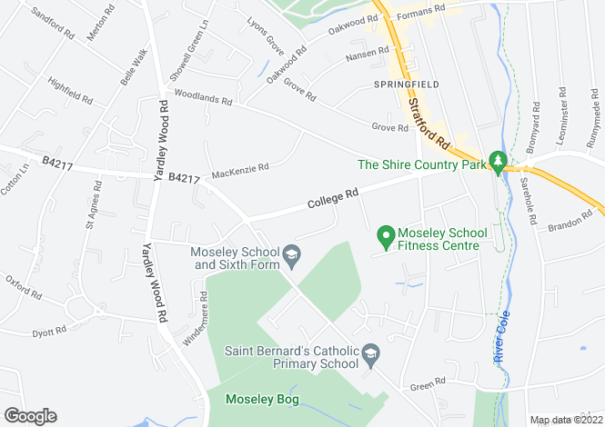 Map for 6 APARTMENTS FOR SALE, MOSELEY, BIRMINGHAM, B13