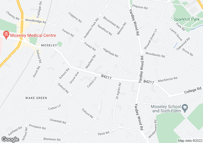 Map for Wake Green Road, Moseley, Birmingham