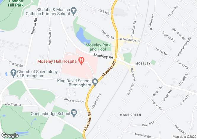 Map for 20 Moseley Gate, Alcester Road, Moseley, Birmingham