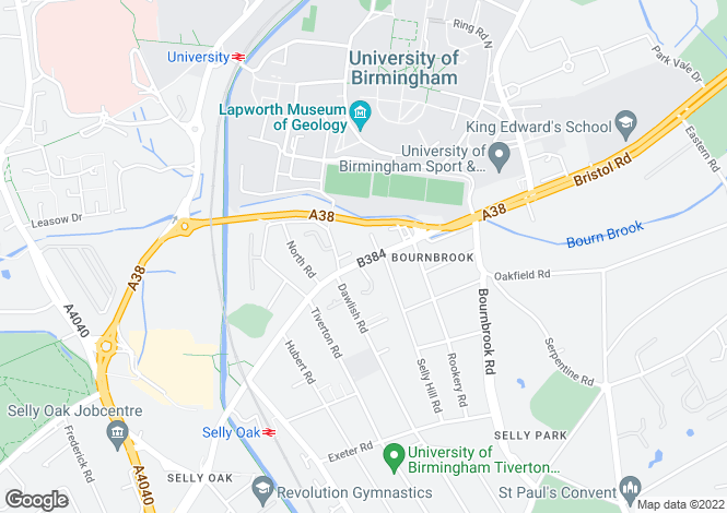 Map for 523  BRISTOL ROAD EDGBASTON BIRMINGHAM B29
