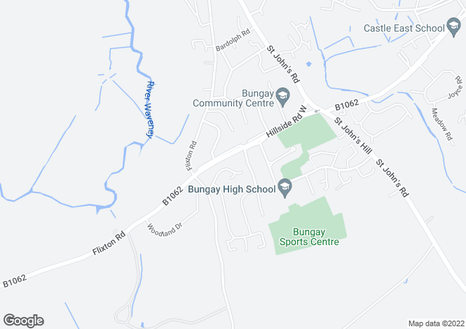 Map for Hillside Road West, Bungay