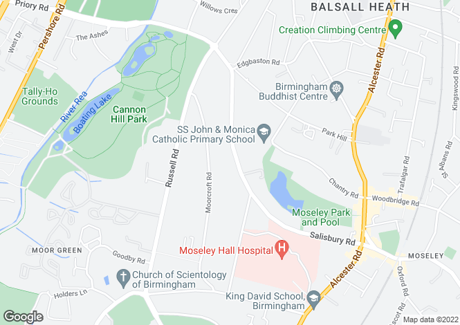 Map for Salisbury Road, Moseley, Birmingham