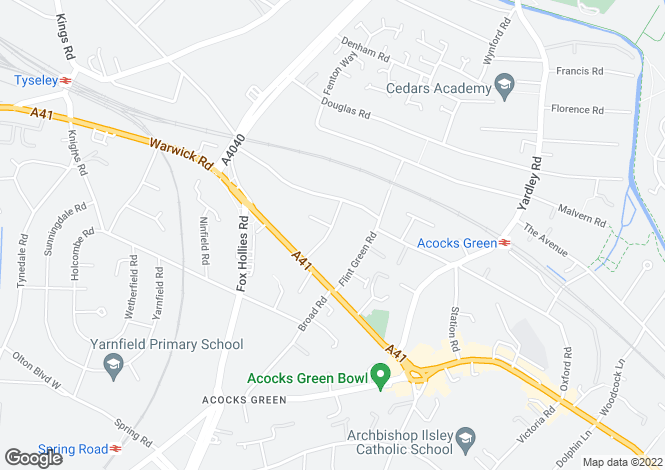 Map for GRESWOLDE PARK ROAD, ACOCKS GREEN, BIRMINGHAM