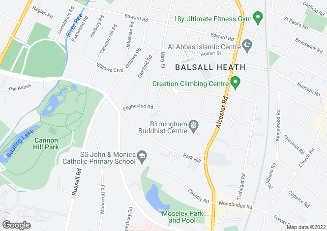 Map for 8 Strensham Hill, Moseley, Birmingham, B13